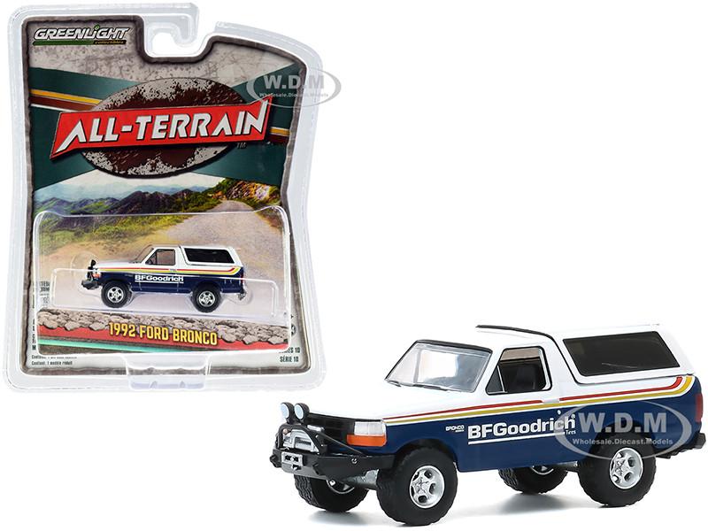 1992 Ford Bronco Off–Road Parts BFGoodrich Tires Blue White Stripes All Terrain Series 10 1/64 Diecast Model Car Greenlight 35170 E
