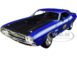 1970 Dodge Challenger T/A 340 Six Pack Blue Metallic with Black Hood and White Stripes The Busted Knuckle Garage 1/24 Diecast Model Car First Gear 49-3173B7