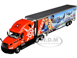 2018 Freightliner Cascadia High-Roof Sleeper Cab 53' Wabash Reefer Refrigerated Trailer Skirts Quest Trucking 1/64 Diecast Model DCP First Gear 60-0835
