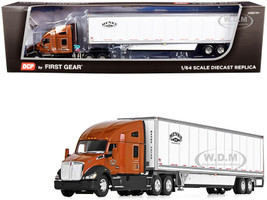 "Kenworth T680 72"" High-Roof Sleeper Cab 53' Wabash DuraPlate Dry Goods Trailer Skirts Menke Trucking Brown Metallic White 1/64 Diecast Model DCP First Gear 60-0855"