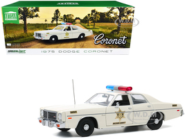 1975 Dodge Coronet Cream Hazzard County Sheriff 1/18 Diecast Model Car Greenlight 19092