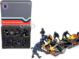 Formula One F1 Pit Crew 7 Figurine Set Team Blue 1/43 Scale Models American Diorama 38384