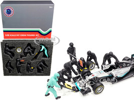 Formula One F1 Pit Crew 7 Figurine Set Team Black 1/18 Scale Models American Diorama 76551