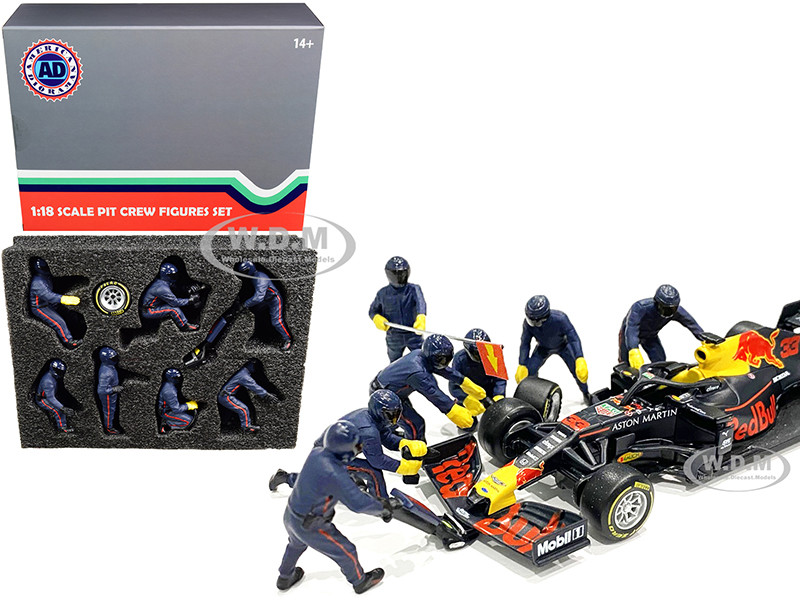 Formula One F1 Pit Crew 7 Figurine Set Team Blue 1/18 Scale Models American Diorama 76552