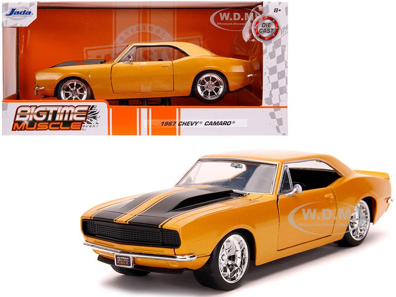 1967 Chevrolet Camaro Orange Metallic Black Stripes Bigtime Muscle 1/24 Diecast Model Car Jada 31866