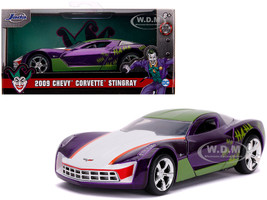 2009 Chevrolet Corvette Stingray Joker DC Comics Hollywood Rides Series 1/32 Diecast Model Car Jada 32096