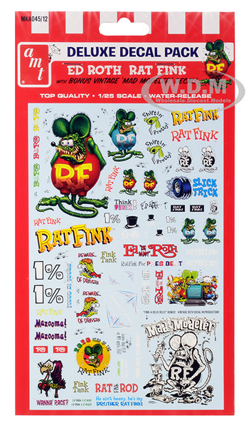 Ed Roth Rat Fink Decal Pack for 1/25 Scale Models AMT MKA045