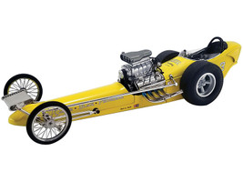 Vintage Dragster Greer-Black-Prudhomme Dragster Yellow Limited Edition 540 pieces Worldwide 1/18 Diecast Model Car GMP 18917