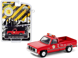 1987 GMC High Sierra Pickup Truck Red Public Works Arlington Heights Illinois Hobby Exclusive 1/64 Diecast Model Car Greenlight 30213