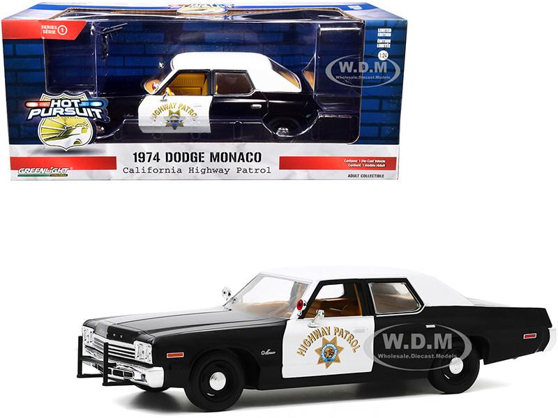 1974 Dodge Monaco California Highway Patrol CHP Black White Hot Pursuit 1/24 Diecast Model Car Greenlight 85511