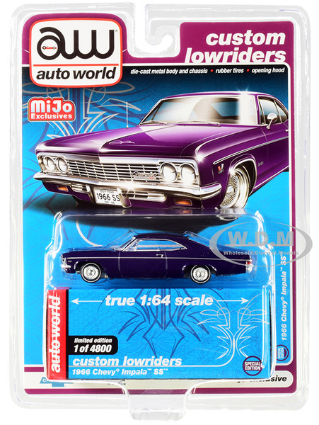 1966 Chevrolet Impala SS Dark Purple Metallic White Interior Custom Lowriders Limited Edition 4800 pieces Worldwide 1/64 Diecast Model Car Autoworld CP7658
