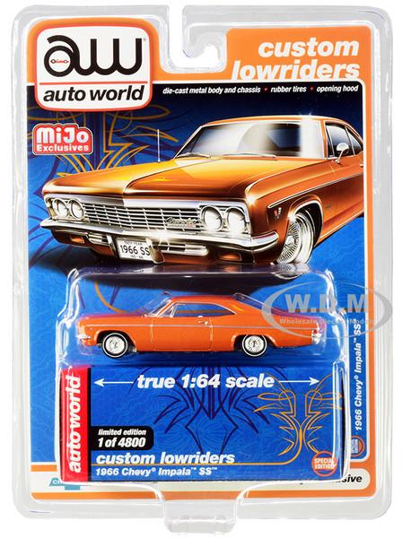 1966 Chevrolet Impala SS Orange Metallic White Interior Custom Lowriders Limited Edition 4800 pieces Worldwide 1/64 Diecast Model Car Autoworld CP7659