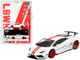 Lamborghini Huracan Version 1 LB Works White Red Stripes Limited Edition 2400 pieces Worldwide 1/64 Diecast Model Car True Scale Miniatures MGT00148
