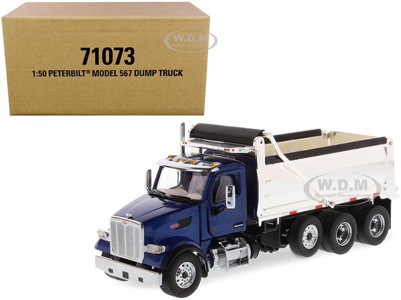 Peterbilt 567 Dump Truck Legendary Blue Chrome Transport Series 1/50 Diecast Model Diecast Masters 71073