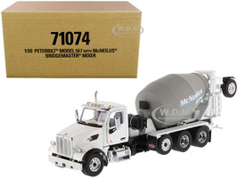 Peterbilt 567 with McNeilus Bridgemaster Mixer White Gray 1/50 Diecast Model Diecast Masters 71074