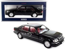 1997 Mercedes Benz S600 Black Red Interior 1/18 Diecast Model Car Norev 183722