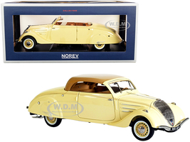 1937 Peugeot 402 Eclipse Convertible Cream Caramel Brown Top 1/18 Diecast Model Car Norev 184872