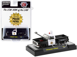 1976 Chevrolet Scottsdale Pickup Truck Police Patrol Black White Limited Edition 8250 pieces Worldwide 1/64 Diecast Model Car M2 Machines 31500-HS08