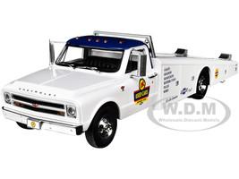 1967 Chevrolet C-30 Ramp Truck OK Used Cars White Blue Top 1/18 Diecast Model Car ACME A1801705
