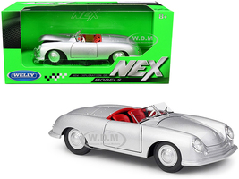 Porsche 356/1 Roadster Silver Red Interior NEX Models 1/24 Diecast Model Car Welly 24090