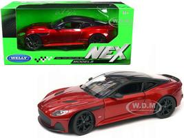 Aston Martin DBS Superleggera Red Metallic Black Top NEX Models 1/24 Diecast Model Car Welly 24095