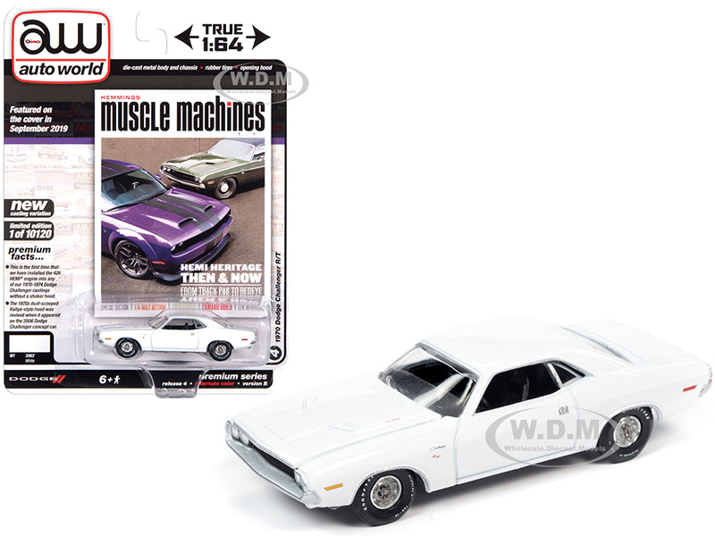 1970 Dodge Challenger R/T White Hemmings Muscle Machines Magazine Cover Car September 2019 Limited Edition 10120 pieces Worldwide 1/64 Diecast Model Car Autoworld 64272 AWSP050 B