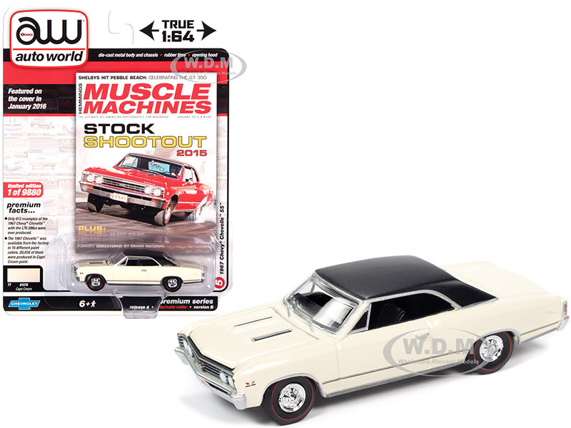 1967 Chevrolet Chevelle SS Capri Cream Flat Black Vinyl Top Hemmings Muscle Machines Magazine Cover Car January 2016 Limited Edition 9880 pieces Worldwide 1/64 Diecast Model Car Autoworld 64272 AWSP051 B
