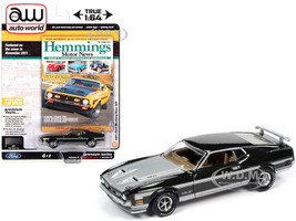 1971 Ford Mustang Boss 351 Dark Green Metallic Silver Stripes Hood Hemmings Motor News Magazine Cover Car November 2011 Limited Edition 10120 pieces Worldwide 1/64 Diecast Model Car Autoworld 64272 AWSP052 B