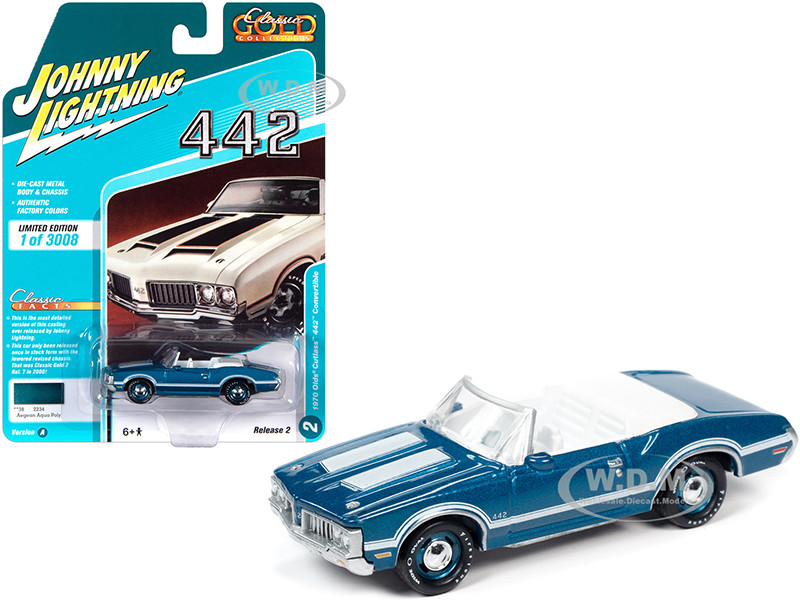 1970 Oldsmobile Cutlass 442 Convertible Aegean Aqua Blue Metallic White Stripes White Interior Classic Gold Collection Limited Edition 3008 pieces Worldwide 1/64 Diecast Model Car Johnny Lightning JLCG022 JLSP102 A
