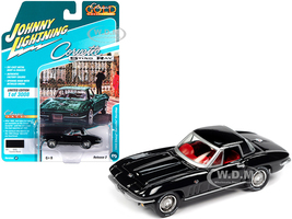 1965 Chevrolet Corvette Hardtop Tuxedo Black Red Interior Classic Gold Collection Limited Edition 3008 pieces Worldwide 1/64 Diecast Model Car Johnny Lightning JLCG022 JLSP103 A