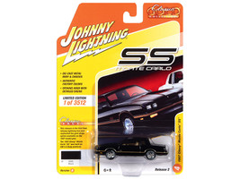 1987 Chevrolet Monte Carlo SS Black Gold Stripes Gold Interior Classic Gold Collection Limited Edition 3512 pieces Worldwide 1/64 Diecast Model Car Johnny Lightning JLCG022 JLSP104 B