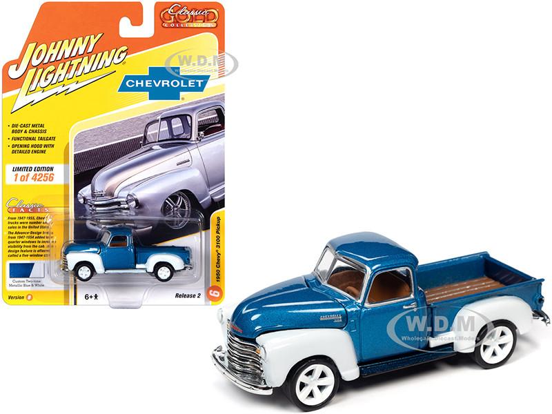1950 Chevrolet 3100 Pickup Truck Custom Blue Metallic White Classic Gold Collection Limited Edition 4256 pieces Worldwide 1/64 Diecast Model Car Johnny Lightning JLCG022 JLSP106 B