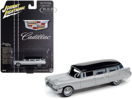 1959 Cadillac Hearse Silver Black Top Special Edition 1/64 Diecast Model Car Johnny Lightning JLSP091