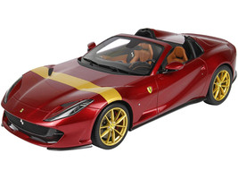 2019 Ferrari 812 GTS Convertible Rosso Fiorano Red Gold Stripe Gold Wheels DISPLAY CASE Limited Edition 80 pieces Worldwide 1/18 Model Car BBR P18184D