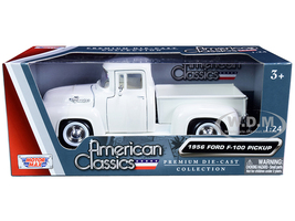 1956 Ford F-100 Pickup Truck White Whitewall Tires American Classics 1/24 Diecast Model Car Motormax 73235