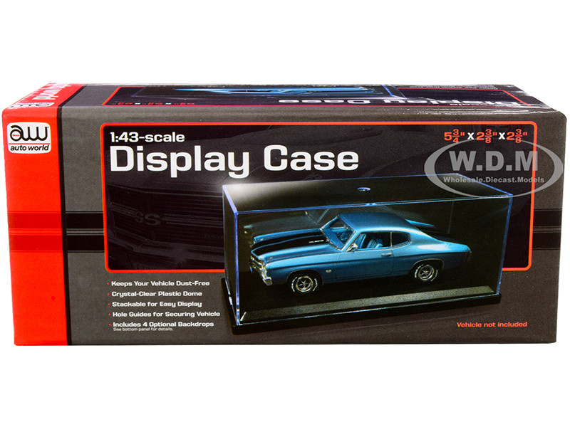 Acrylic Display Show Case Black Plastic Base 4 Display Backdrops for 1/43 Scale Model Cars Autoworld AWDC020
