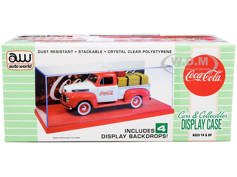 Collectible Acrylic Display Show Case Red Plastic Base 4 Coca Cola Display Backdrops for 1/43 Scale Model Cars Autoworld AWDC021