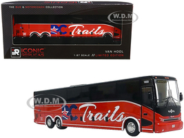 Van Hool CX-45 Bus DC Trails Washington DC Red Black The Bus & Motorcoach Collection 1/87 Diecast Model Iconic Replicas 87-0225
