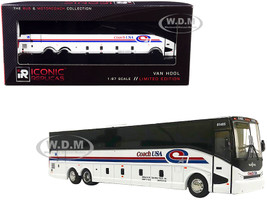 Van Hool CX-45 Bus Coach USA East Brunswick New Jersey White Red Blue Stripes The Bus Motorcoach Collection 1/87 Diecast Model Iconic Replicas 87-0226
