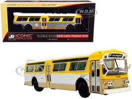 Flxible 53102 Transit Bus RTA Los Angeles California Yellow Silver White Top Vintage Bus Motorcoach Collection 1/87 Diecast Model Iconic Replicas 87-0240