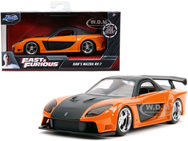 Han's Mazda RX-7 RHD Right Hand Drive Orange Metallic Black Fast & Furious Movie 1/32 Diecast Model Car Jada 30736