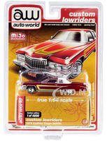 1976 Cadillac Coupe DeVille Burgundy White Chrome Wheels Custom Lowriders Limited Edition 4800 pieces Worldwide 1/64 Diecast Model Car Autoworld CP7661