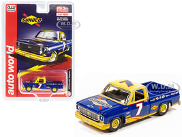 1973 Chevrolet Cheyenne Pickup Truck #7 Sunoco Dark Blue Yellow Limited Edition 4800 pieces Worldwide 1/64 Diecast Model Car Autoworld CP7671
