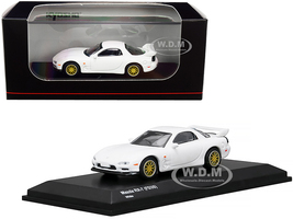 Mazda RX-7 FD3S RHD Right Hand Drive White Gold Wheels 1/64 Diecast Model Car Kyosho KS07033R7W