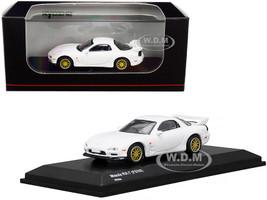 Mazda RX-7 FD3S RHD Right Hand Drive White Gold Wheels 1/64 Diecast Model Car Kyosho KS07033R7W
