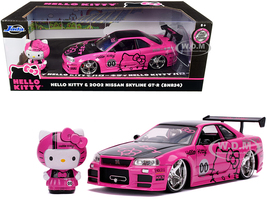 2002 Nissan Skyline GT-R BNR34 RHD Right Hand Drive Pink Metallic Black Hello Kitty Diecast Figurine 1/24 Diecast Model Car Jada 31613