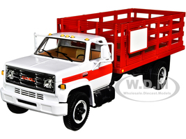 GMC 6500 Stake Truck White Red 1/34 Diecast Model First Gear 10-4220