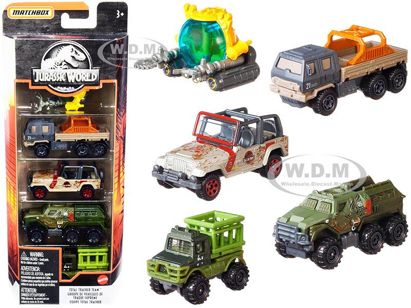 Jurassic World Total Tracker Team Set of 5 pieces Diecast Model Cars Matchbox GPY75 GKJ05