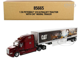 Peterbilt 579 UltraLoft Truck Tractor Red CAT Caterpillar Mural Dry Van Trailer Transport Series 1/50 Diecast Model Diecast Masters 85665