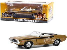 1971 Dodge Challenger 340 Convertible Gold White Interior Black Stripes The Mod Squad 1968 1973 TV Series 1/18 Diecast Model Car Greenlight 13566